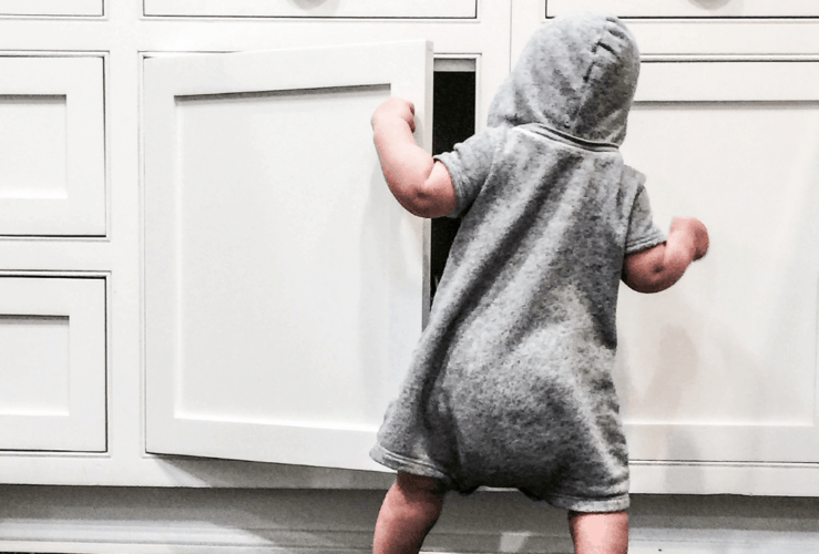 Babies and toddlers, like this one, are always opening up cabinets - but this fast babyproofing trick keeps them closed.
