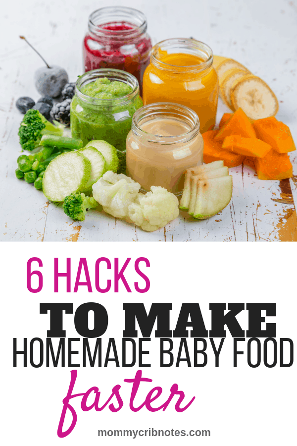 Is making homemade baby food just one more task on your never-ending to-do list? Learn tips to make it easier to create mini-meals packed with flavor and nutrition in no time flat (promise!). #homemadebabyfood #makingbabyfood #babyfoodideas #mommycribnotes