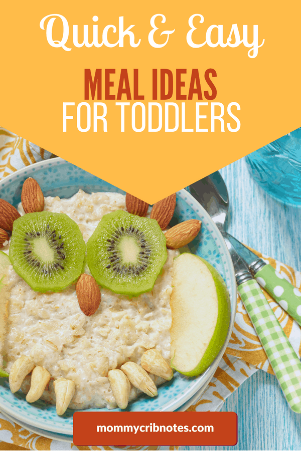 Finally, a list of meal ideas for toddlers that is healthy and easy-to-make! Because figuring out what to feed a picky eater can be so challenging. This is my go-to list of breakfast, lunch, dinner and snack ideas that are simple, but balanced and that kids will actually eat. (Mom for the win!) #mealideasfortoddlers #foodforkids #pickyeaters #mealideasfor1yearold #mommycribnotes