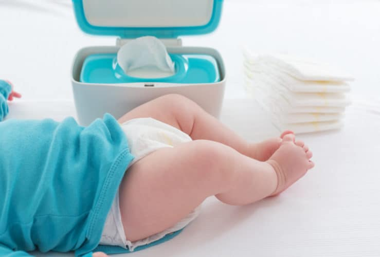 Changing diapers can get messy. This one, quick tip keeps your changing table clean and ready for the next diaper change. #diaperstation #babychangingtable #babycare #mommycribnotes